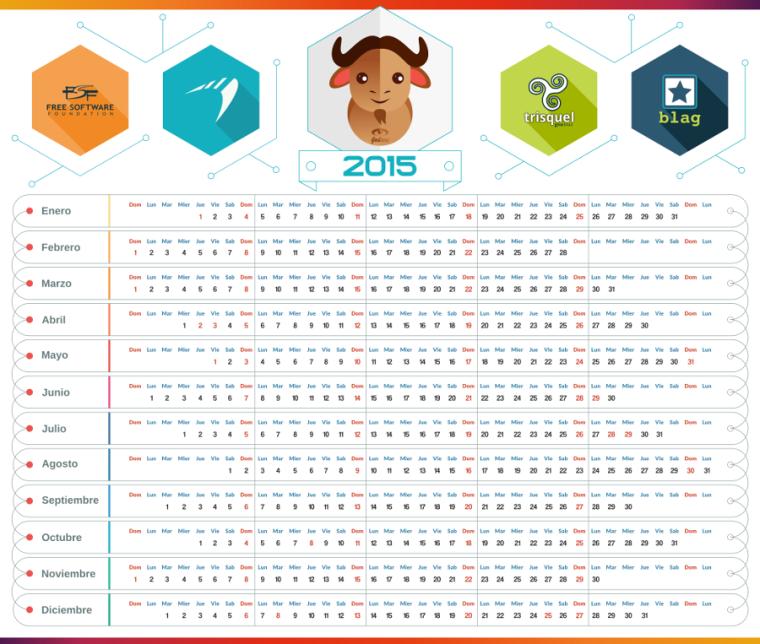 Calendario 2015, calendario linux 2015, calendario gnu-linux 2015, calendario linux